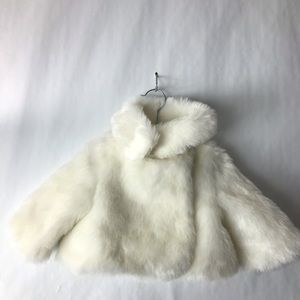 Janie and jack faux fur jacket ivory 12-18 NEW